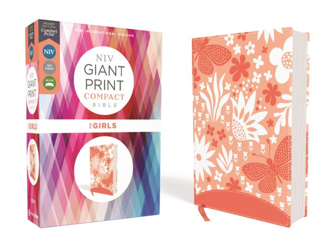 NIV, Giant Print Compact Bible for Girls, Leathersoft, Coral, Red Letter, Comfort Print