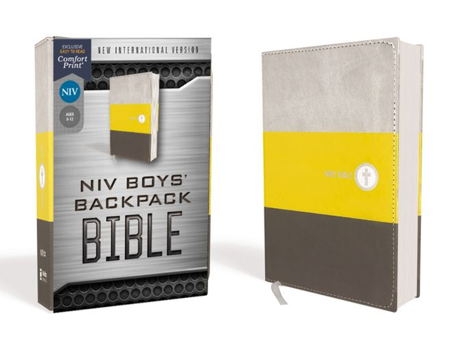 NIV, Boys' Backpack Bible, Compact, Leathersoft, Yellow/Gray, Red Letter, Comfort Print