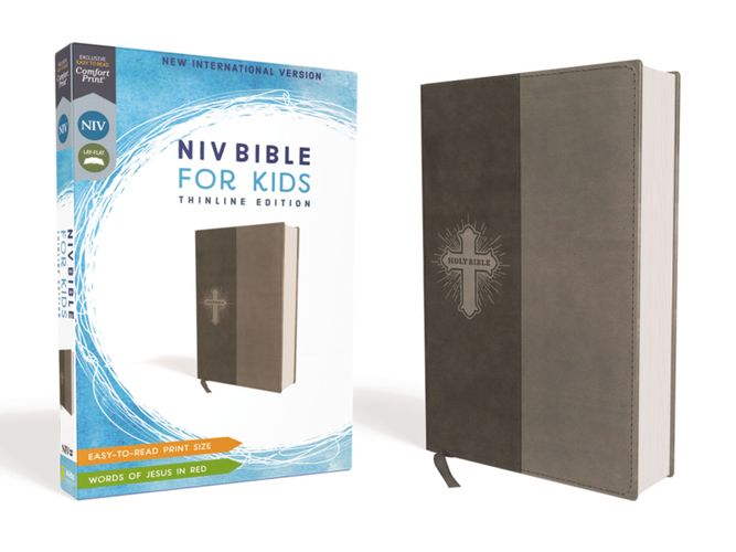 NIV, Bible for Kids, Leathersoft, Gray, Red Letter, Comfort Print
