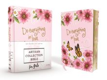 NIV, Artisan Collection Bible for Girls, Cloth over Board, Pink Daisies, Designed Edges under Gilding, Red Letter, Comfort Print