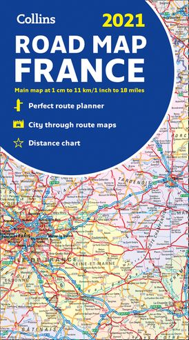 Map of France 2021: Folded road map (Collins Road Atlas)