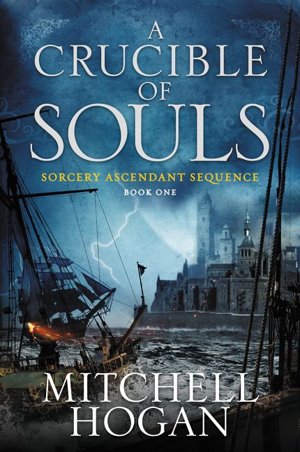 A Crucible of Souls — two ships traverse choppy seas near a fortress