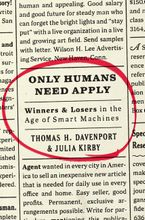 Only Humans Need Apply Hardcover  by Thomas H. Davenport
