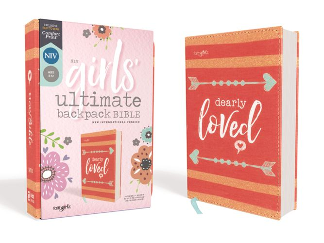 NIV, Girls' Ultimate Backpack Bible, Faithgirlz Edition, Compact, Flexcover, Coral, Red Letter Edition, Comfort Print
