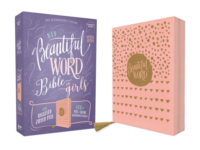 NIV, Beautiful Word Bible for Girls, Updated Edition, Leathersoft, Zippered, Pink, Red Letter, Comfort Print