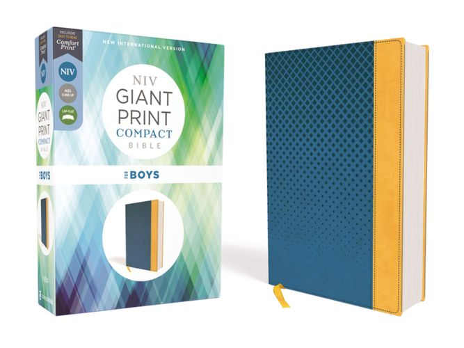 NIV, Giant Print Compact Bible for Boys, Leathersoft, Blue, Red Letter Edition, Comfort Print