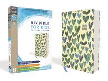 NIV Bible for Kids, Large Print, Cloth over Board, Turquoise Hearts, Red Letter Edition, Comfort Print