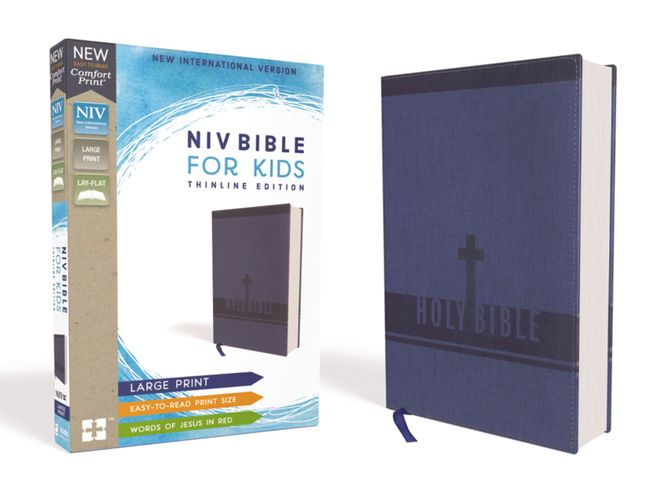 NIV Bible for Kids, Large Print, Leathersoft, Blue, Red Letter Edition, Comfort Print