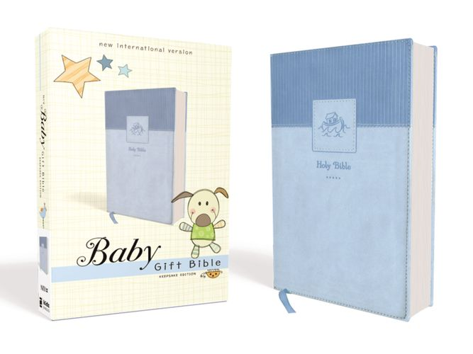NIV, Baby Gift Bible, Holy Bible, Leathersoft, Blue, Red Letter Edition, Comfort Print