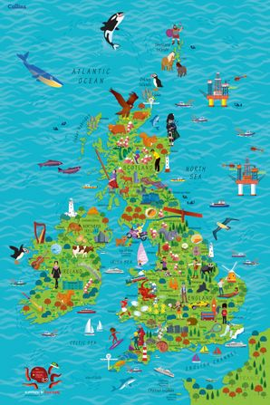 Map Of England For Ks1.Children S Wall Map Of The United Kingdom And Ireland By Steve Evans