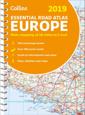 2019 Collins Essential Road Atlas Europe Spiral bound New edition by No Author